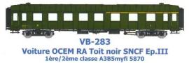 VB-283 VOITURE OCEM RA Toit Noir 1ere/2eme CL A3B5myfi 5870 SNCF