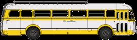 CB-121  Autocar Renault R4190 jaune et blanc - SNCF - Service Rodez - Séverac (81)