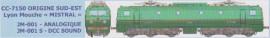 JM-001S Locomotive électrique CC 7150 livrée Sud-Est version d'origine avec plaques mistral du dépôt de Lyon-Mouche