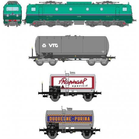 CM-015 COFFRET 7124 CHAMBERY Jupe échancrée, frotteur 3ème rail MAURIENNE + 3 WAGONS à MARCHANDISE Ep.IV (MACHINE ANALOGIQUE)