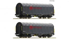76039 Coffret 2 Wagons à bâche coulissante de l' Ermewa