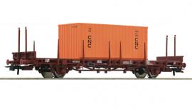 76986 Wagon plat à ranchers, brun, SNCF, avec chargement conteneur CNC